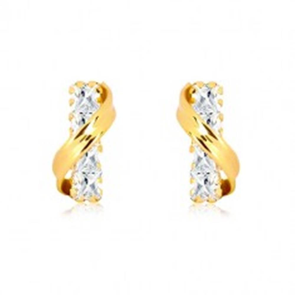 Šperky eshop Náušnice v žltom 14K zlate - šikmý oblúk a rovný zirkónový pásik čírej farby