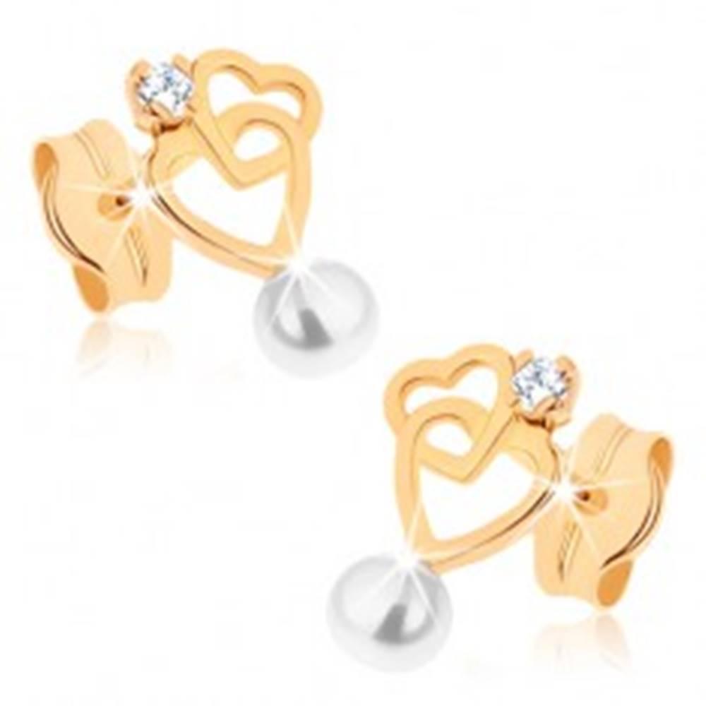 Šperky eshop Náušnice v žltom 9K zlate - dve kontúry sŕdc, číry zirkón, biela perlička