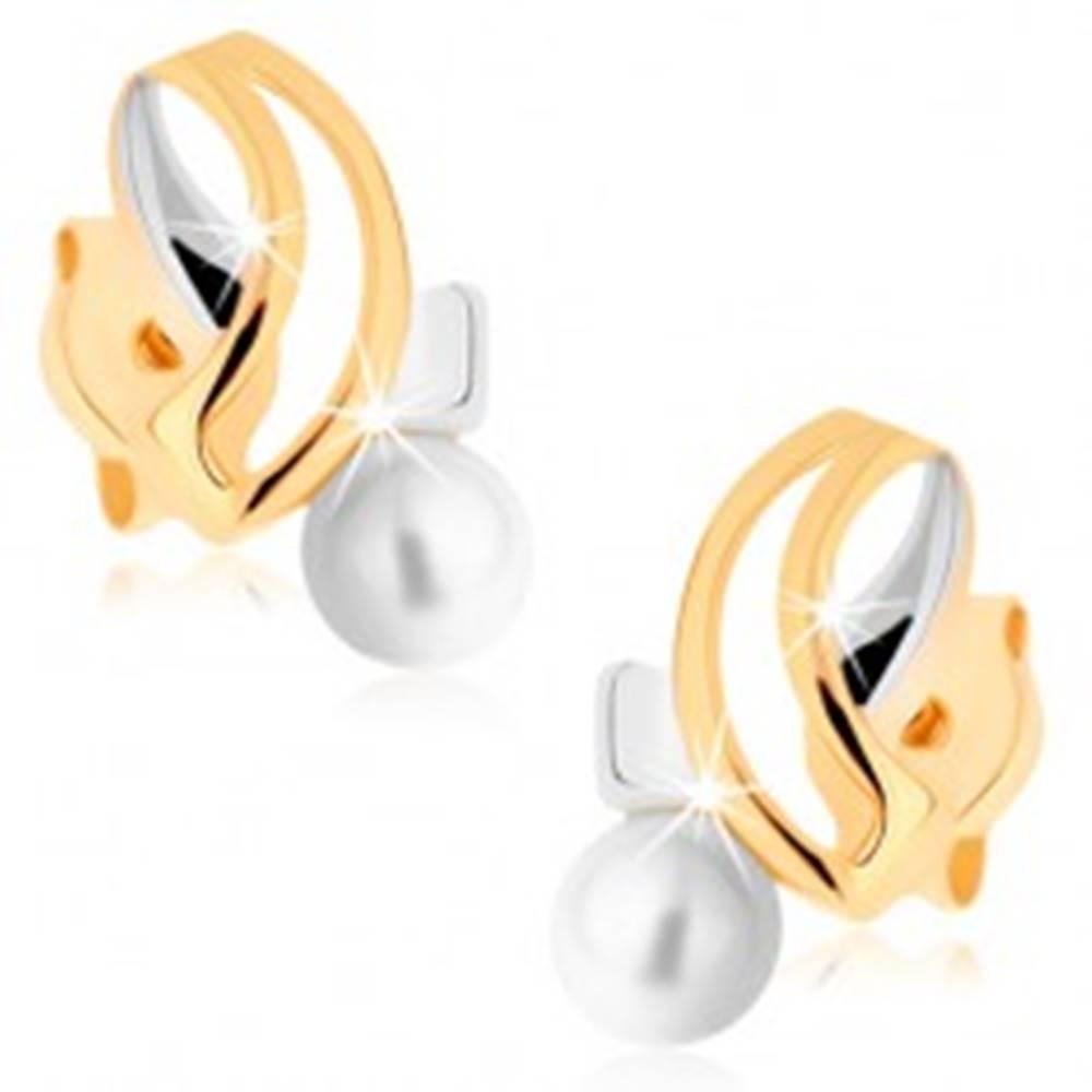 Šperky eshop Náušnice v žltom 9K zlate - dvojfarebné pretínajúce sa línie, biela perla