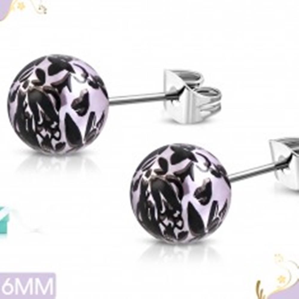 Šperky eshop Náušnice z chirurgickej ocele, svetlofialové akrylové guličky s čiernymi kvetmi