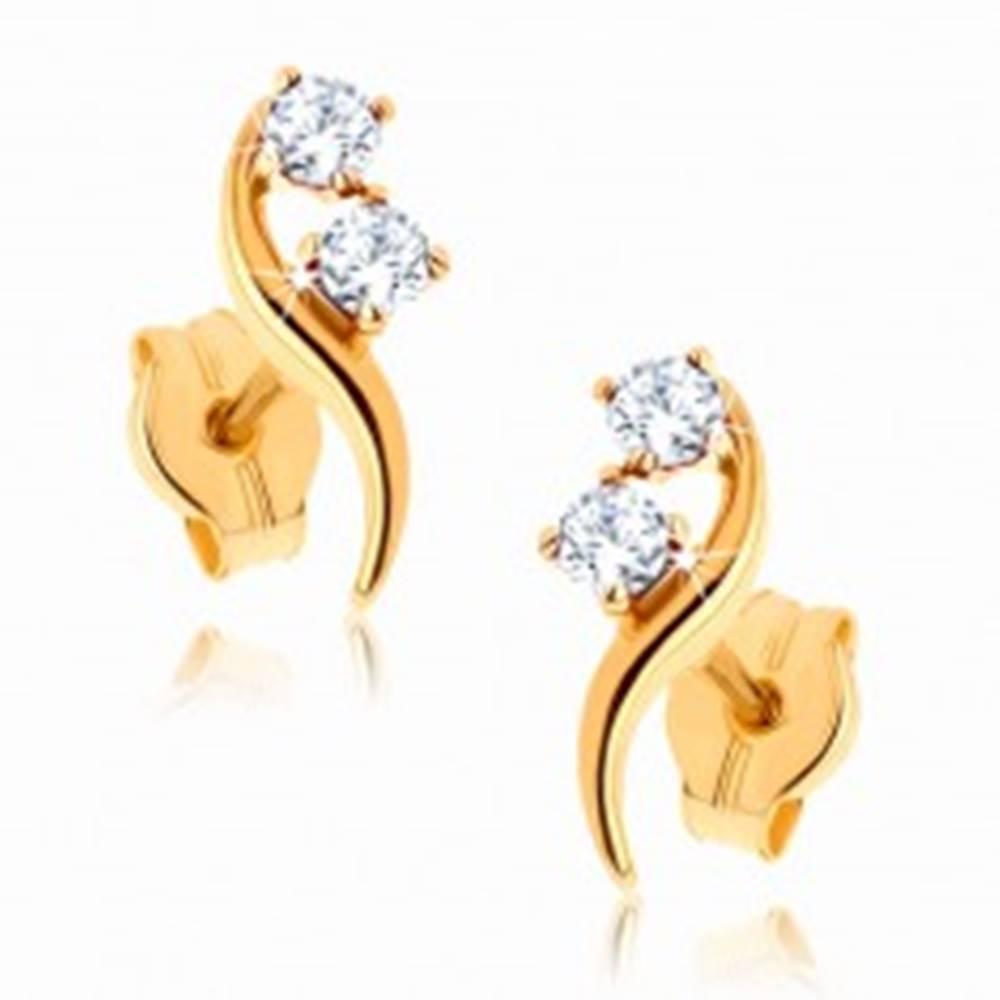 Šperky eshop Náušnice zo žltého 9K zlata - zvlnená línia zdobená zirkónikmi čírej farby