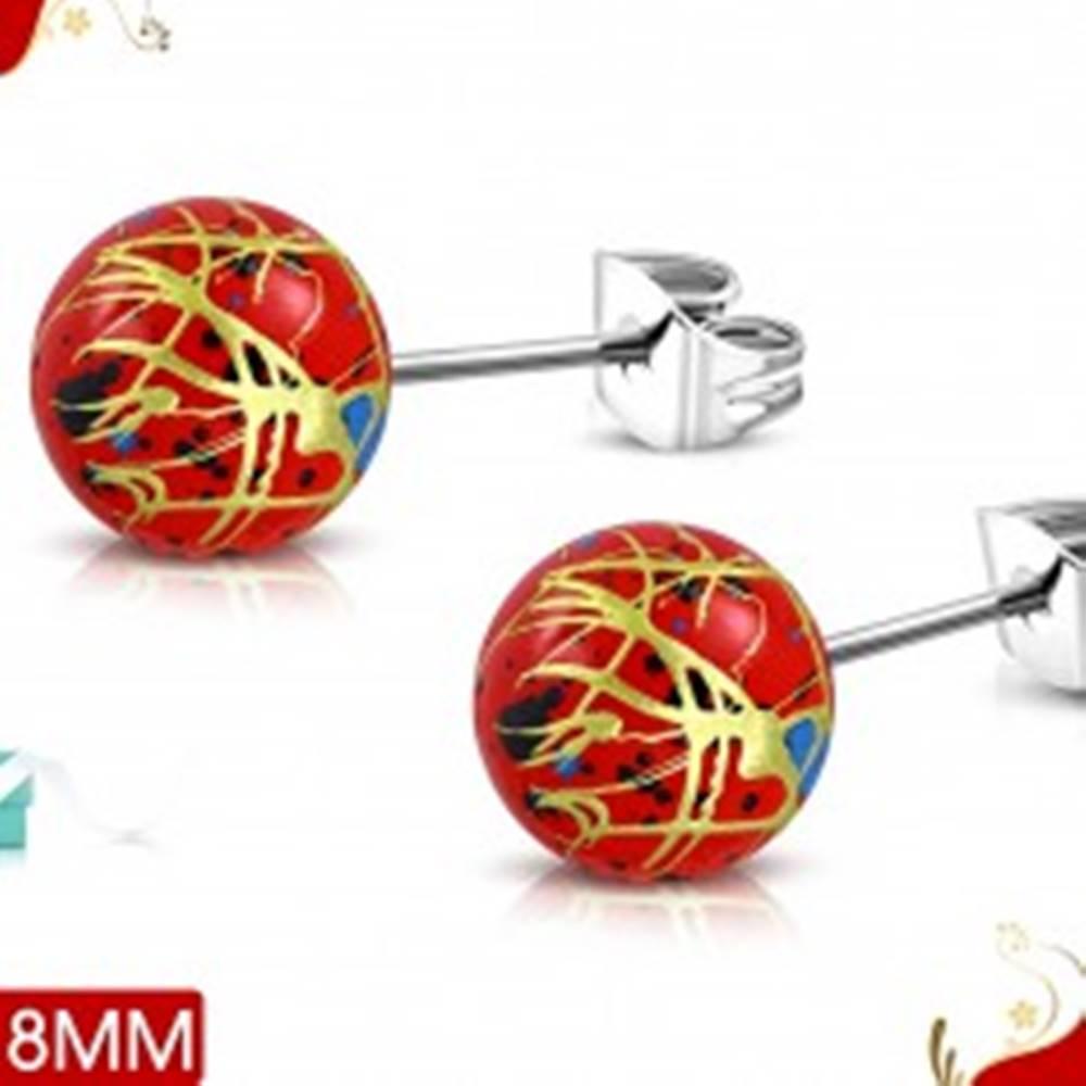 Šperky eshop Oceľové náušnice, červené akrylové guličky s farebnými líniami a škvrnami