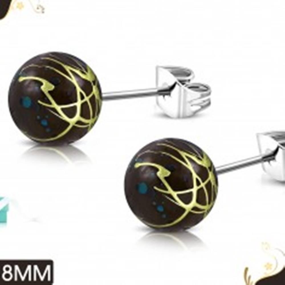 Šperky eshop Oceľové náušnice, hnedé akrylové guličky s farebnými líniami a škvrnami