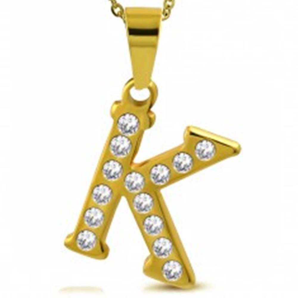 Šperky eshop Prívesok z ocele 316L zlatej farby, tlačené písmeno K, brúsené číre zirkóny