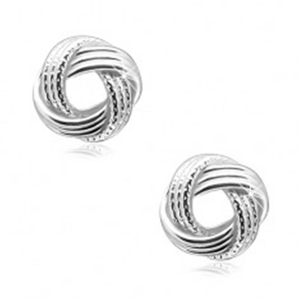Šperky eshop Strieborné 925 náušnice, lesklý uzol s vrúbkovanými líniami, puzetky
