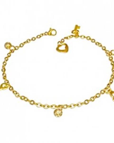 Šperky eshop Oceľový náramok v zlatom farebnom odtieni - guľôčky, zámok a kľúčik