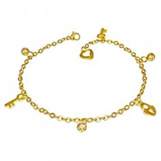 Oceľový náramok v zlatom farebnom odtieni - guľôčky, zámok a kľúčik