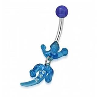 Piercing do bruška, chirurgická oceľ a akryl - jašterička modrej farby, číre zirkóny
