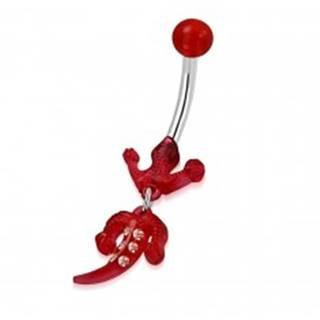 Piercing do pupka z ocele - guľôčka, červená jašterička so zirkónmi