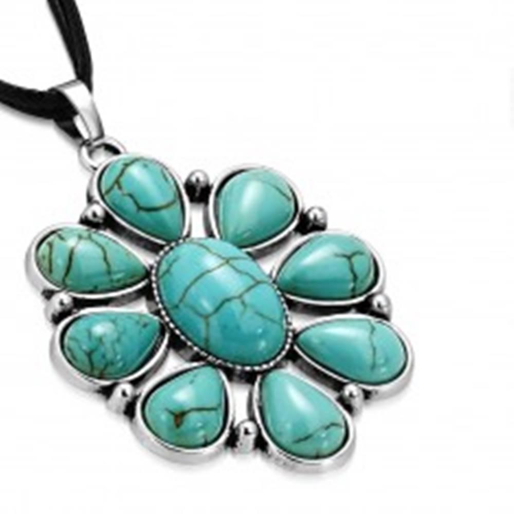 Šperky eshop Čierny šnúrkový náhrdelník - ozdobný kvet s tyrkysovými kameňmi, slzy