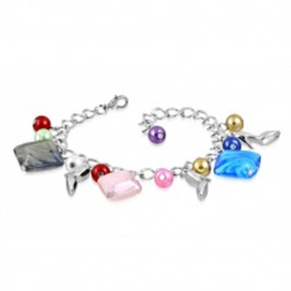 Šperky eshop Náramok - lesklá retiazka, lodičky, farebné syntetické perličky a korálky