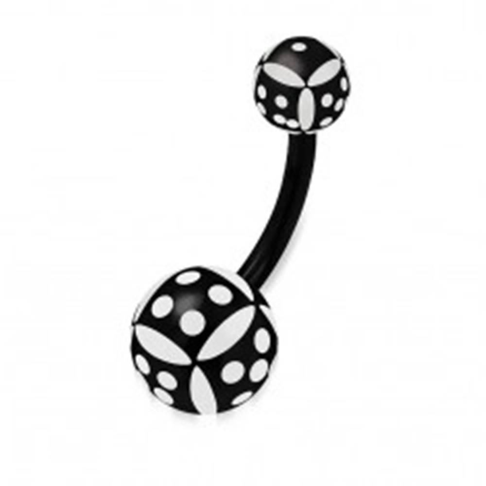 Šperky eshop Piercing do pupka z akrylu - guľôčky, čierno-biela hracia kocka
