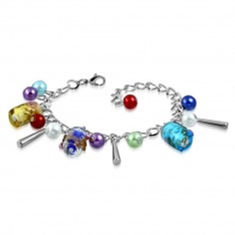 Šperky eshop Retiazkový náramok a prívesky - umelé perličky, farebné korálky s ružičkami