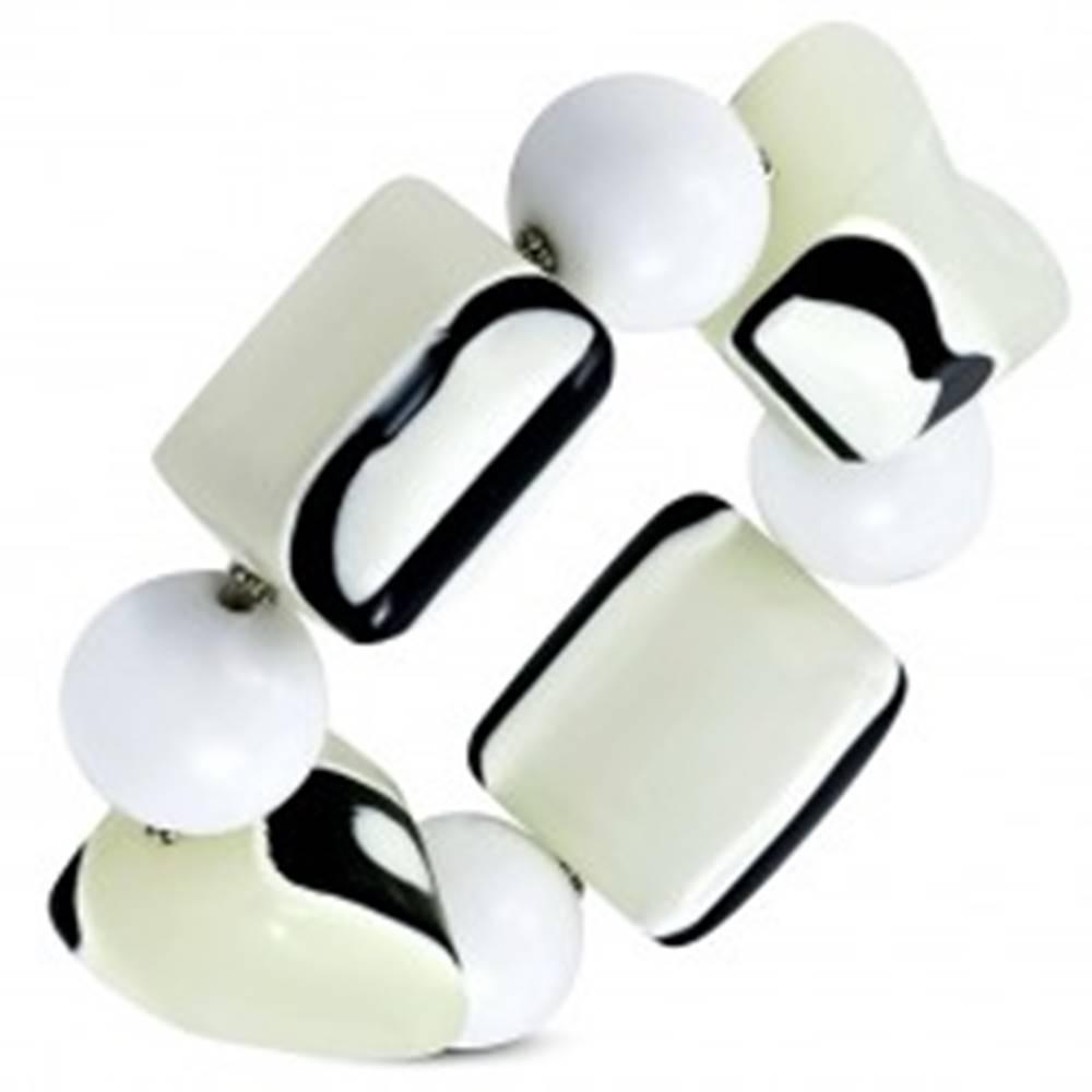 Šperky eshop Strečový náramok - biele guľôčky, korálky z mliečneho skla, čierno-biele očká