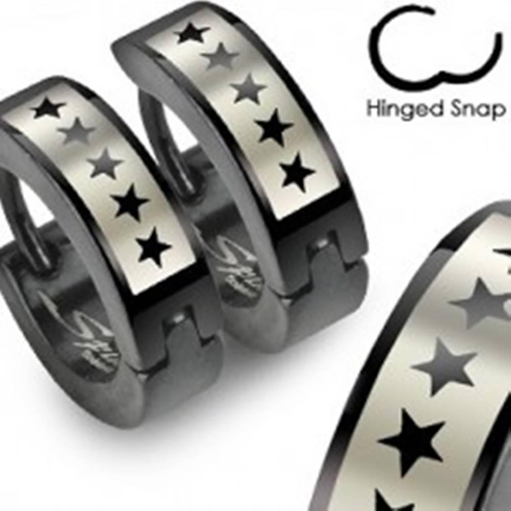 Šperky eshop Čierne náušnice z ocele - motív hviezdičky