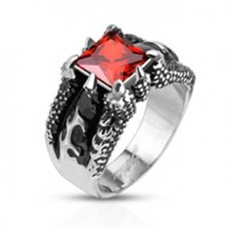 Mohutný prsteň z ocele 316L, štvorcový oranžový zirkón v pazúroch - Veľkosť: 59 mm