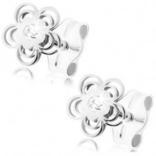 Náušnice z bieleho 9K zlata - lesklý kvietok, zdvojené obrysy lupeňov, zirkón