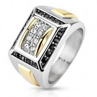Oceľový prsteň striebornej a zlatej farby, čierne a číre zirkóny, obdĺžniky - Veľkosť: 56 mm