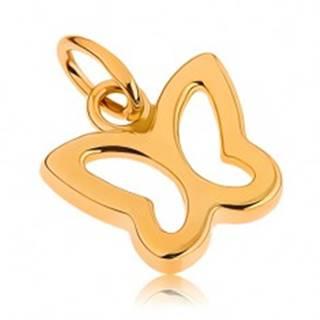 Zlatý prívesok 375 - lesklá kontúra malého motýlika