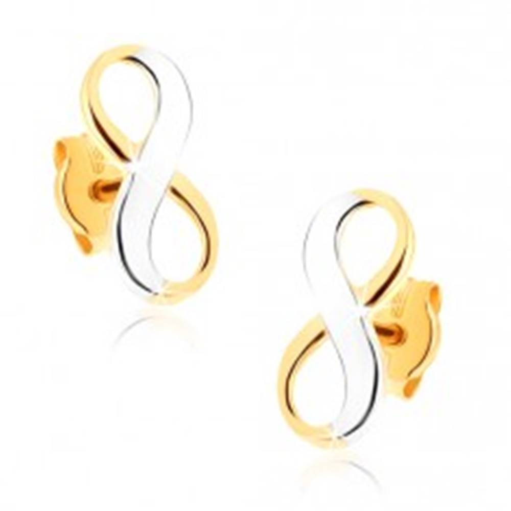 Šperky eshop Dvojfarebné zlaté náušnice 375 - lesklý symbol nekonečna, ródiované
