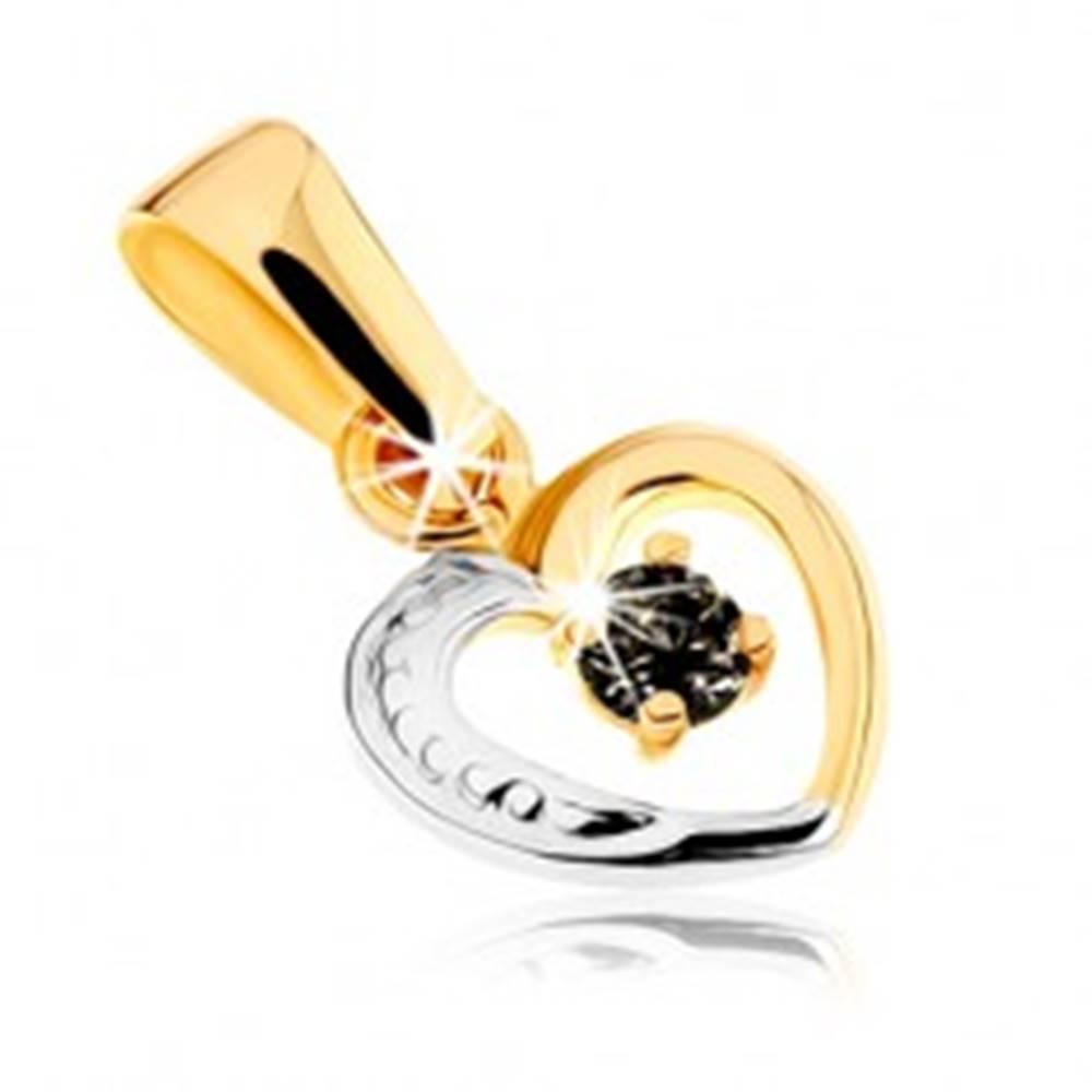 Šperky eshop Dvojfarebný prívesok z 9K zlata - línia pravidelného srdiečka, zafír čiernej farby