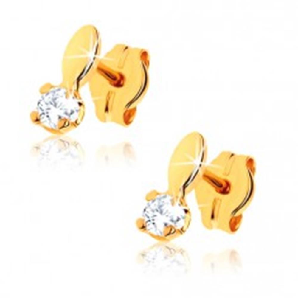 Šperky eshop Lesklé náušnice zo žltého 9K zlata - ovál a číry kamienok