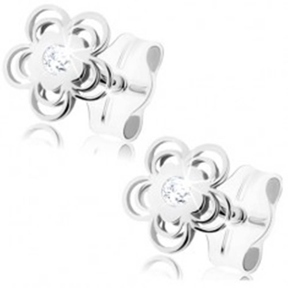 Šperky eshop Náušnice z bieleho 9K zlata - lesklý kvietok, zdvojené obrysy lupeňov, zirkón