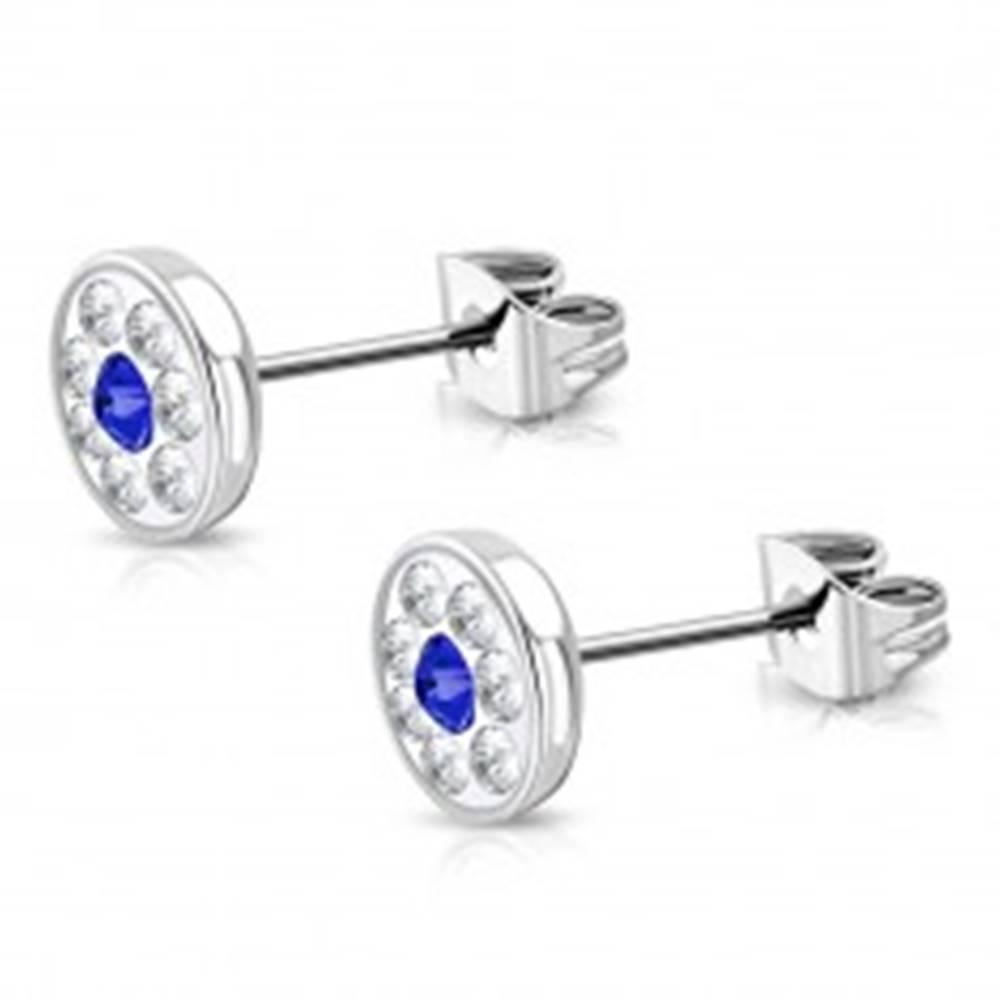 Šperky eshop Oceľové náušnice - okrúhly kvet so Swarovski® elementmi, zafírovomodrý zirkón, 7 mm