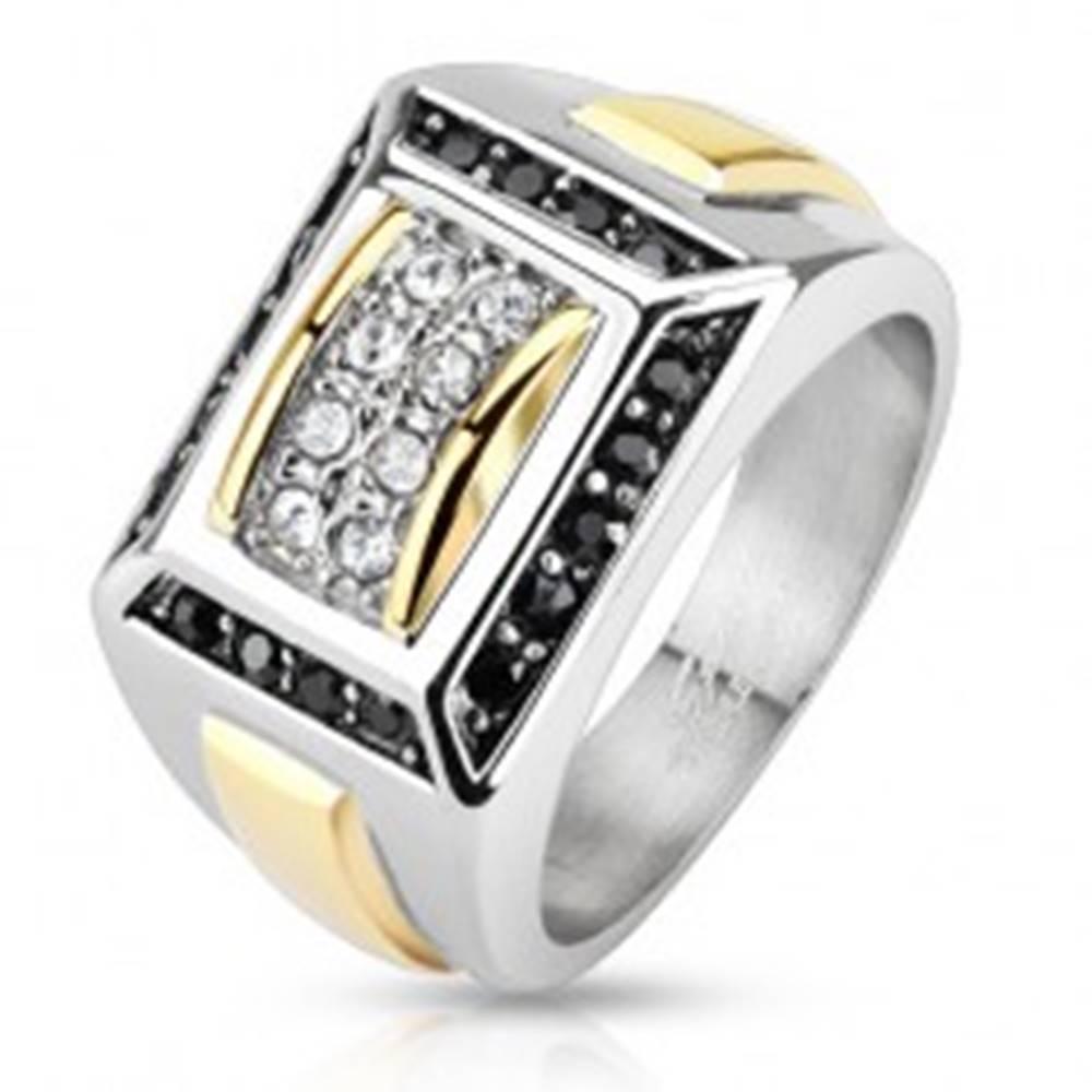 Šperky eshop Oceľový prsteň striebornej a zlatej farby, čierne a číre zirkóny, obdĺžniky - Veľkosť: 56 mm