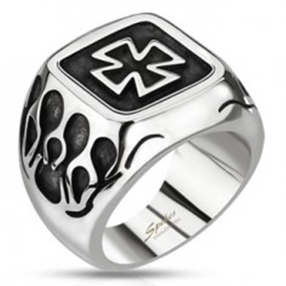 Šperky eshop Pečatný prsteň z ocele - keltský kríž s plameňmi a patinou - Veľkosť: 59 mm