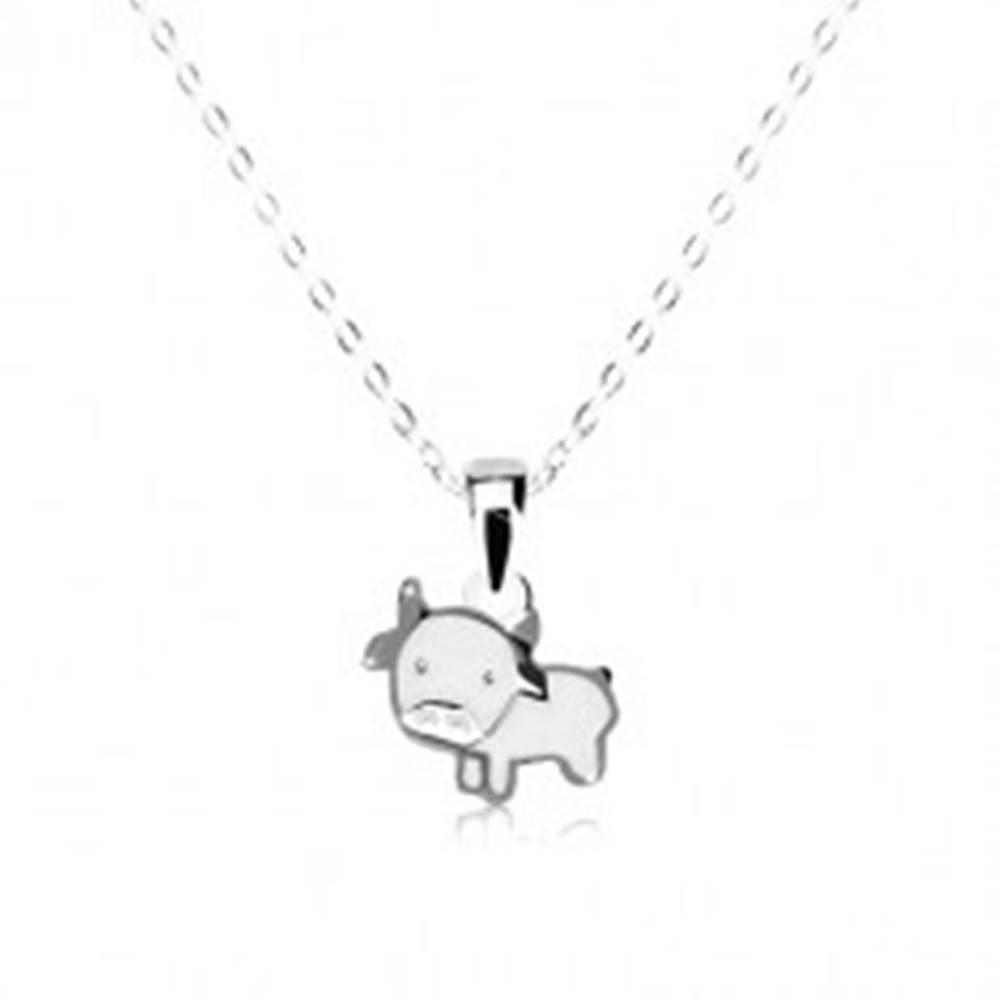 Šperky eshop Strieborný 925 náhrdelník - lesklá kravička s bielou glazúrou, retiazka z oválnych očiek