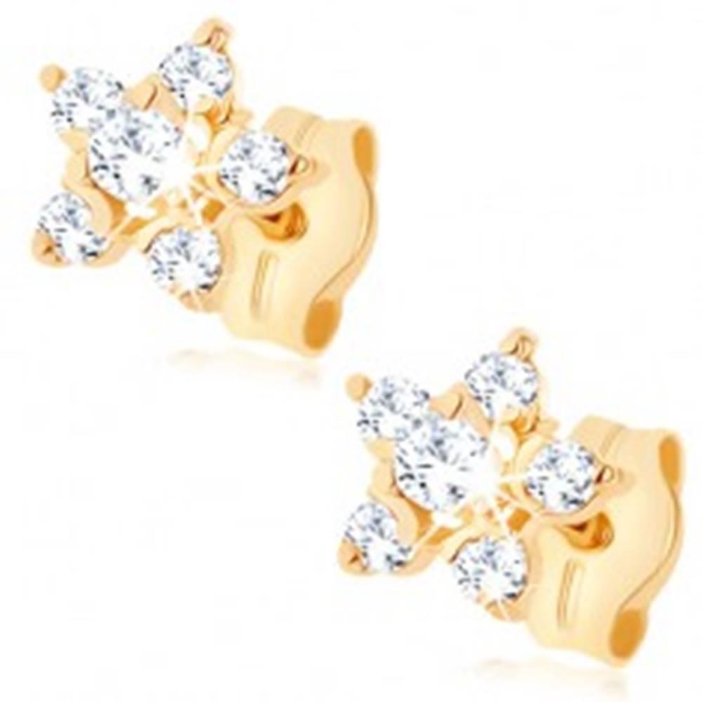 Šperky eshop Zlaté náušnice 375 - číry zirkónový kvietok, vyvýšený stred, puzetky