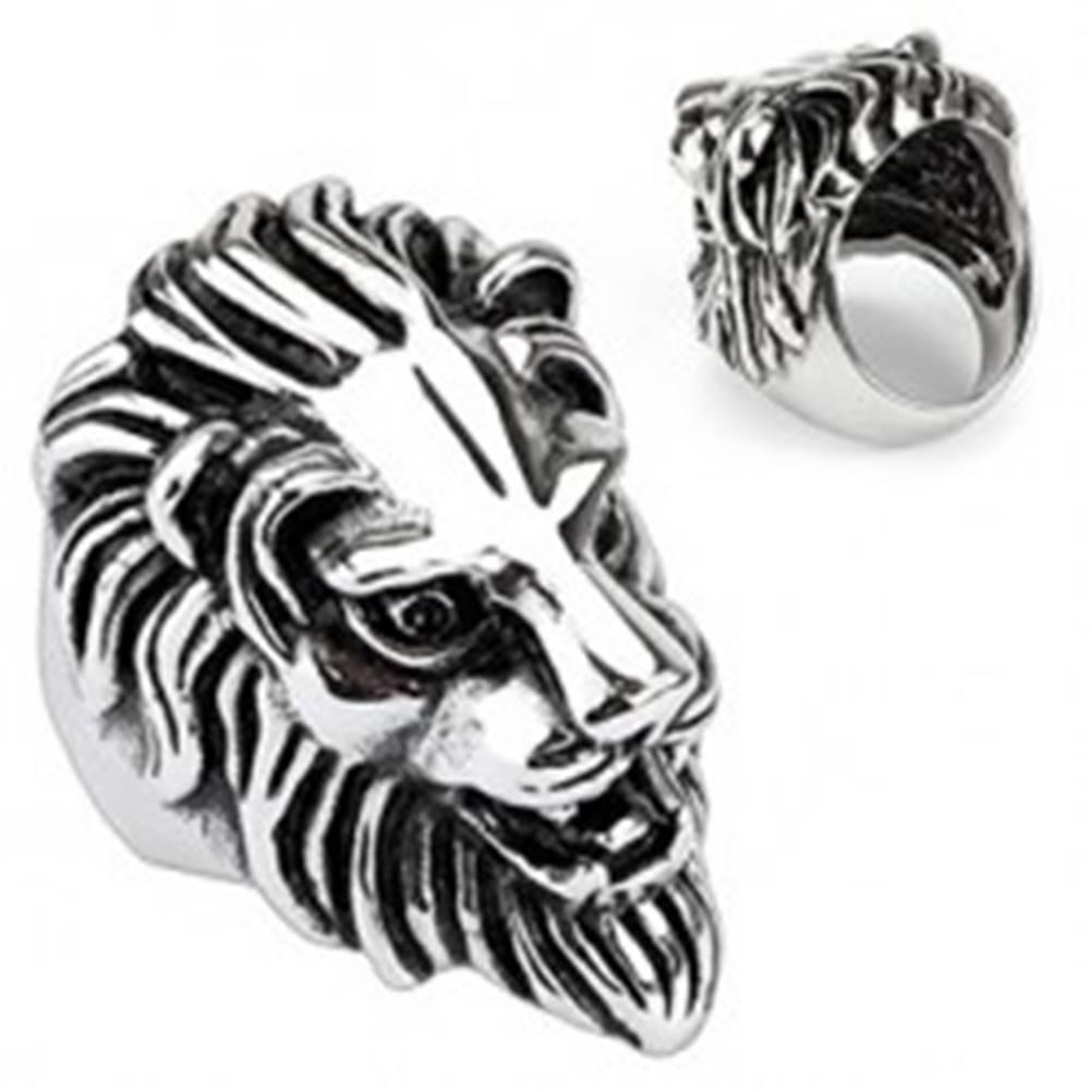 Šperky eshop Oceľový prsteň - veľká levia hlava - Veľkosť: 59 mm