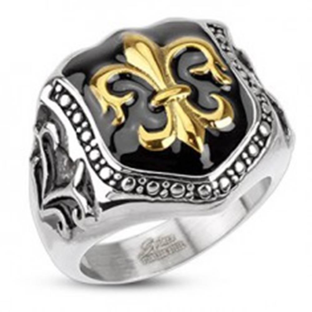 Šperky eshop Prsteň z chirurgickej ocele - kráľovský znak, štít - Veľkosť: 57 mm