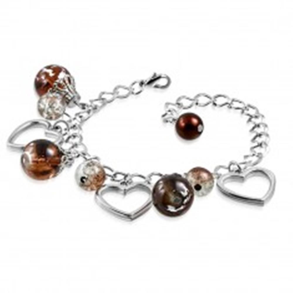 Šperky eshop Retiazkový náramok striebornej farby - kontúry symetrických sŕdc, guličky a slzy