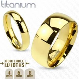 Lesklá obrúčka z titánu zlatej farby s hladkým vypuklým povrchom, 6 mm - Veľkosť: 49 mm