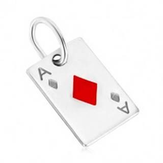 Prívesok zo striebra 925 - motív hracej karty, kárové eso s červenou glazúrou