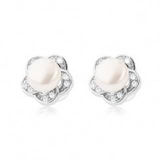 Puzetové náušnice zo striebra 925, číry zirkónový kvet s bielou perlou