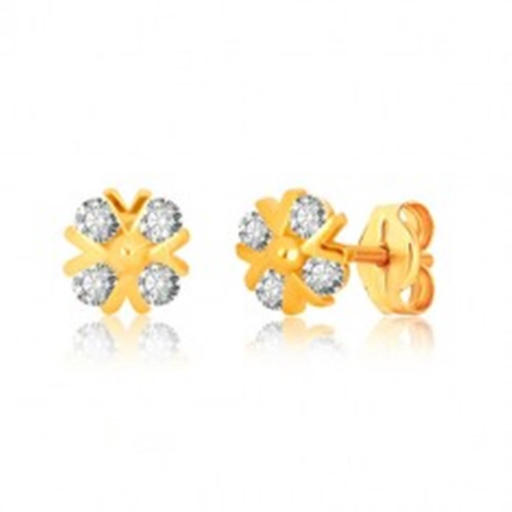 Šperky eshop Náušnice v žltom zlate 375 - zirkónový kvet s lesklými v-líniami a guľôčkou, puzetky