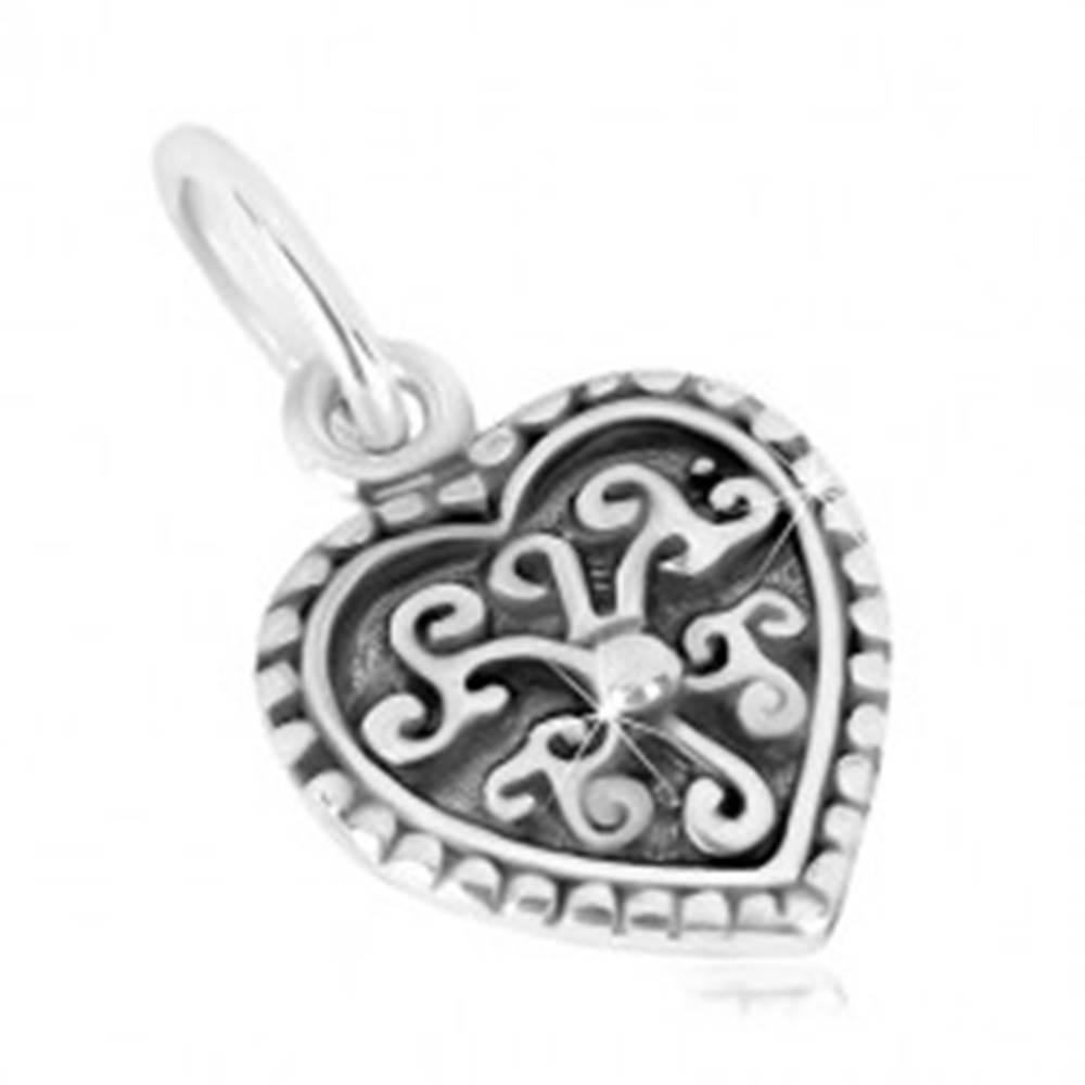 Šperky eshop Prívesok zo striebra 925 - súmerné srdiečko, ornamentálny kvet s guľôčkou, patina