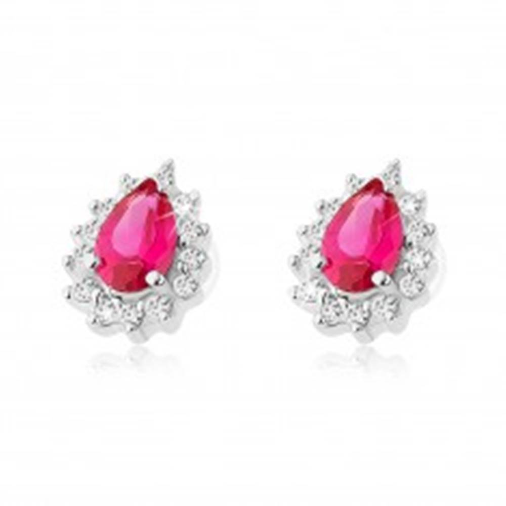 Šperky eshop Strieborné 925 náušnice, tmavoružová zirkónová kvapka, lem z čírych zirkónikov