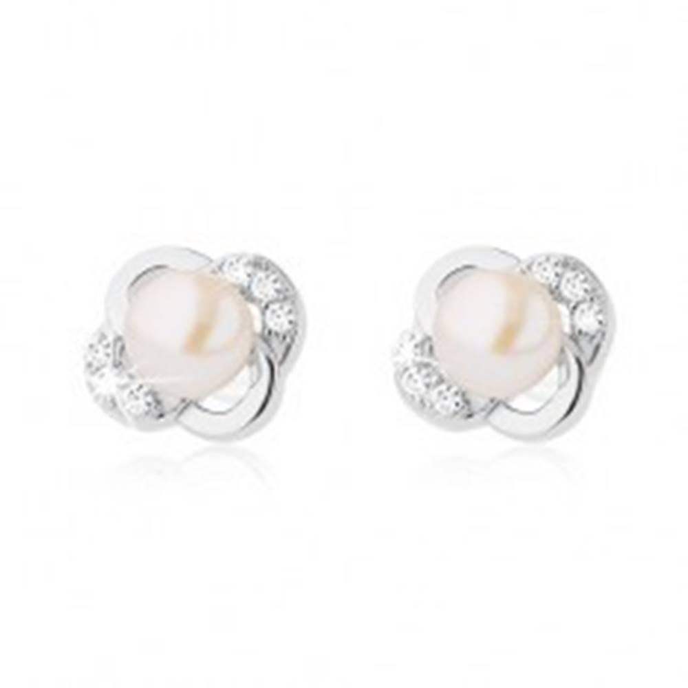 Šperky eshop Strieborné náušnice 925, kvet z hladkých a zirkónových lupeňov, biela perla