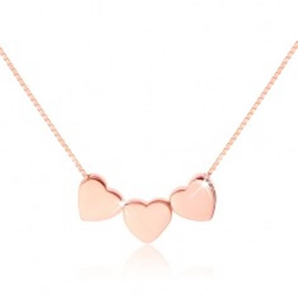 Šperky eshop Strieborný 925 náhrdelník, tri malé lesklé srdiečka, medená farba
