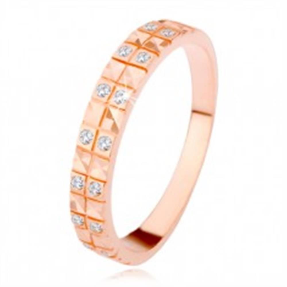 Šperky eshop Strieborný 925 prsteň v medenom odtieni, diamantový rez, číre zirkóny - Veľkosť: 49 mm