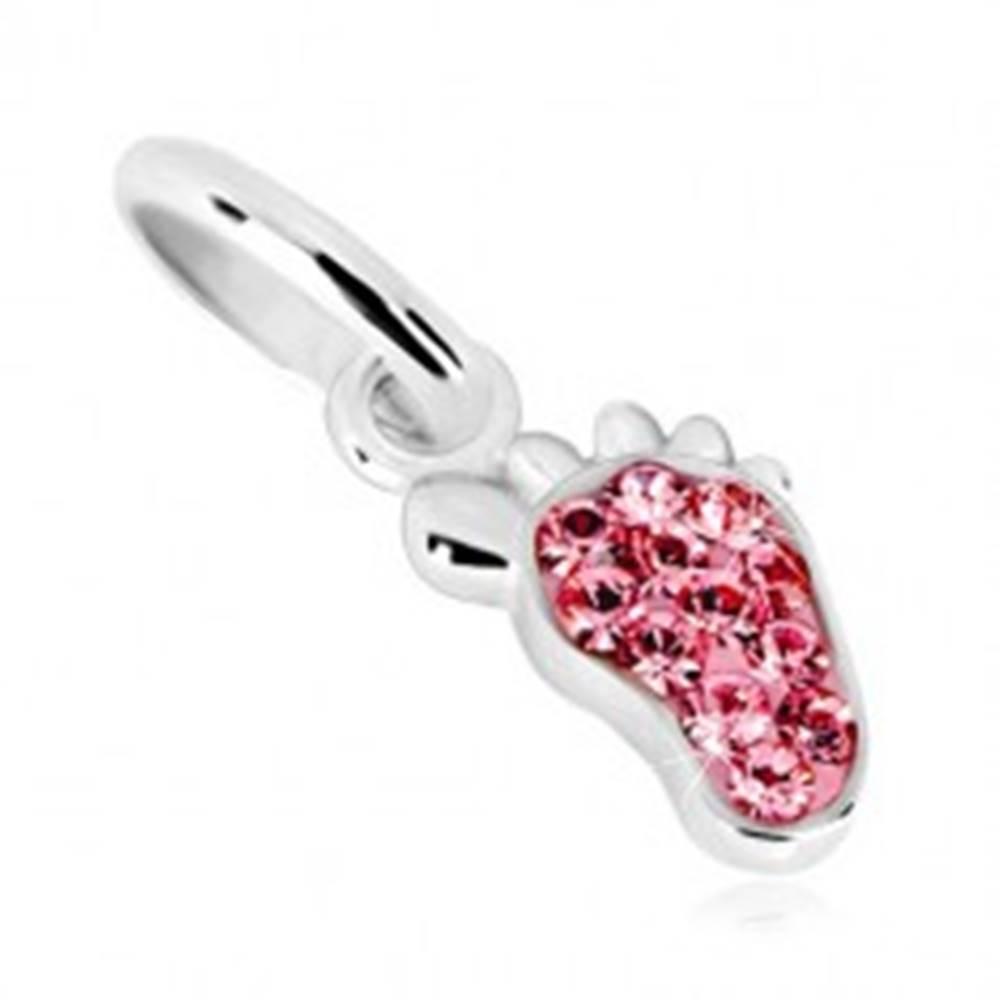 Šperky eshop Strieborný prívesok 925 - chodidielko a trblietavé ružové zirkóny