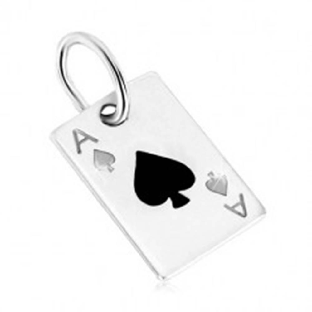 Šperky eshop Strieborný prívesok 925 - hracia karta, pikové eso s čiernou glazúrou