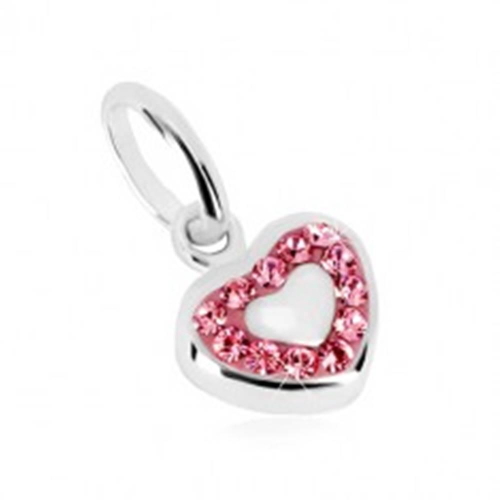 Šperky eshop Strieborný prívesok 925 - pravidelné srdce a ligotavá zirkónová kontúra