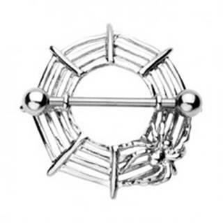 Piercing bradavky pavúčia sieť s pavúkom - 2 kusy