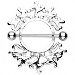 Piercing do bradavky s ornamentom - 2 kusy