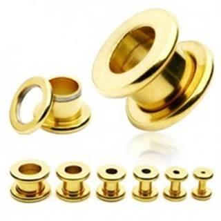 Tunel do ucha z chirurgickej ocele - lesklý povrch zlatej farby - Hrúbka: 10 mm